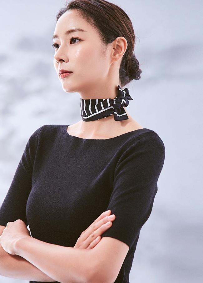 (3FNT023) Wool Boat Neck Short-sleeve Knit