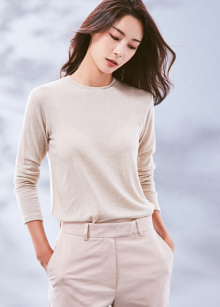 (3FTT033) Wool Tencel Basic T-shirt