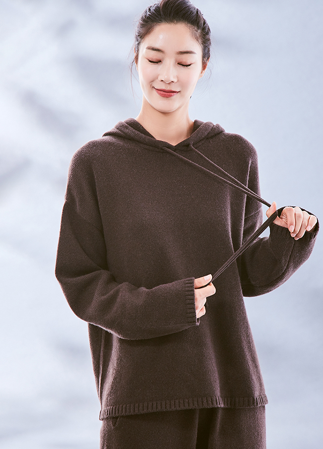 (3FNT027) Cashmere Easy Hood Knit