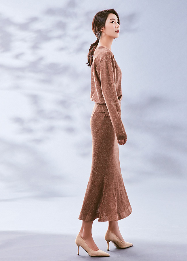 (3FSK038) Twinkle Lurex Wool Banding Skirt