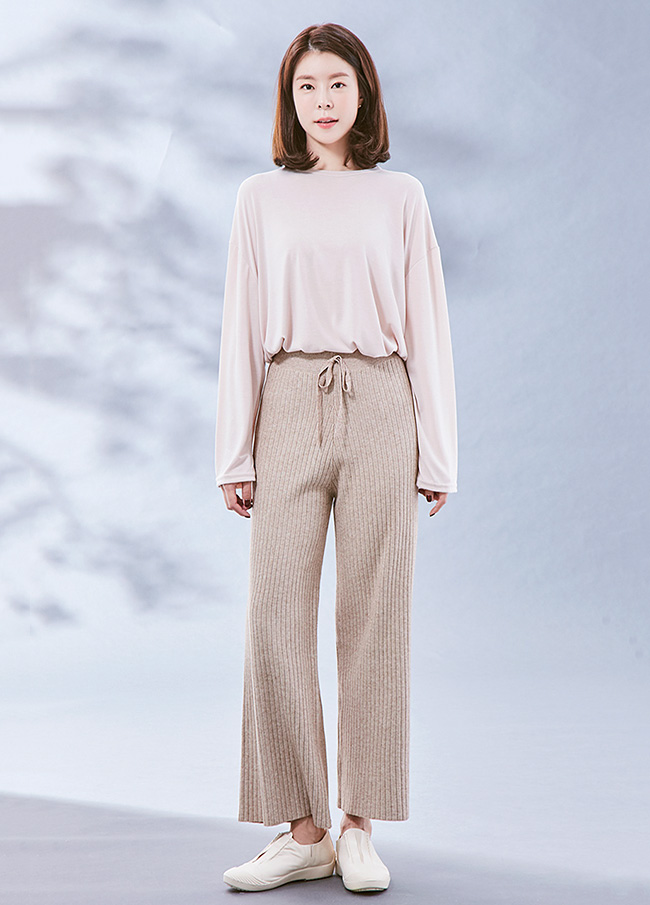 (3FPT075) Banding Corrugated Knit Pants