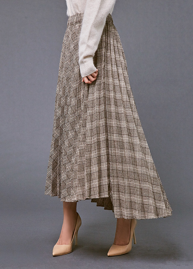 (3FSK049) Check Unfooted Pleats Skirt