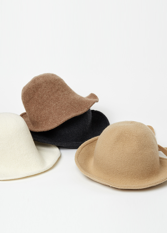 (3FHT002) Wool bungee string hat