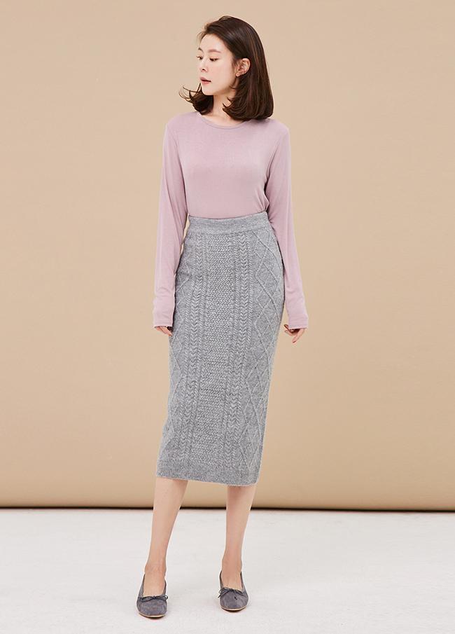 (3FSK054) Cable Banding Knit Skirt