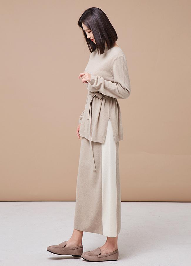(3FSK076) Cache line Banding Knit Skirt