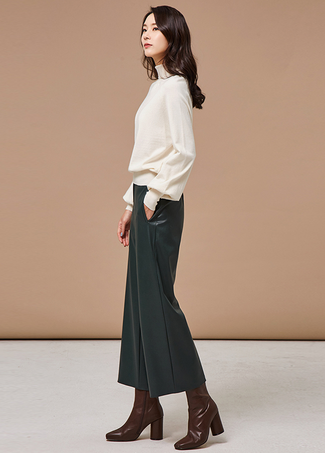 (3FPT134) leather wide napping pocket pants
