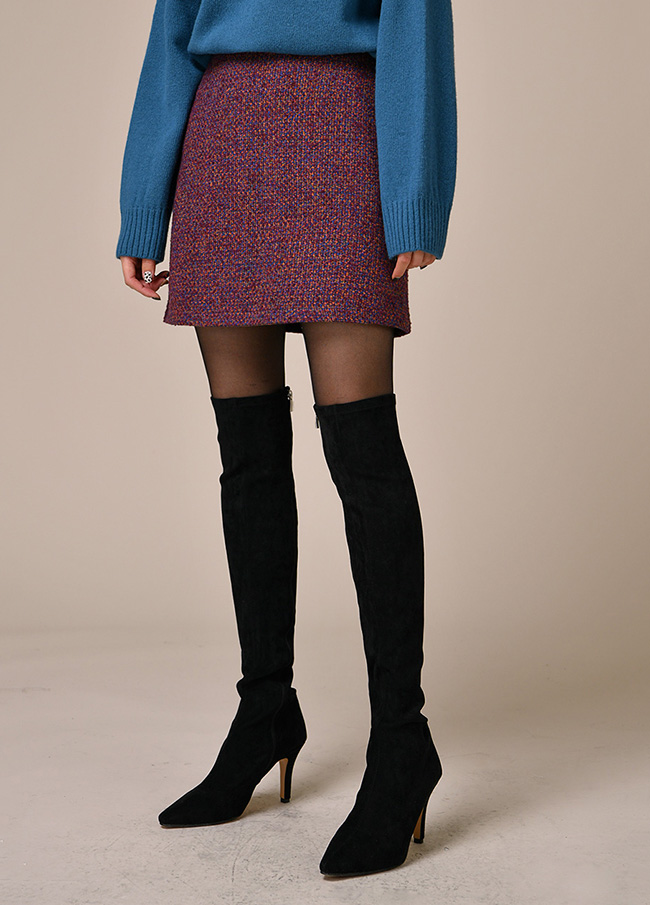 (3FSK085) Bookle Mini Wool Skirt