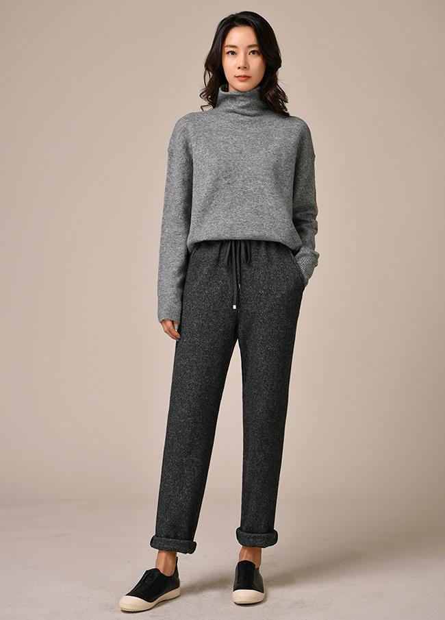 (3FPT143) Banding Wool Easy Pants