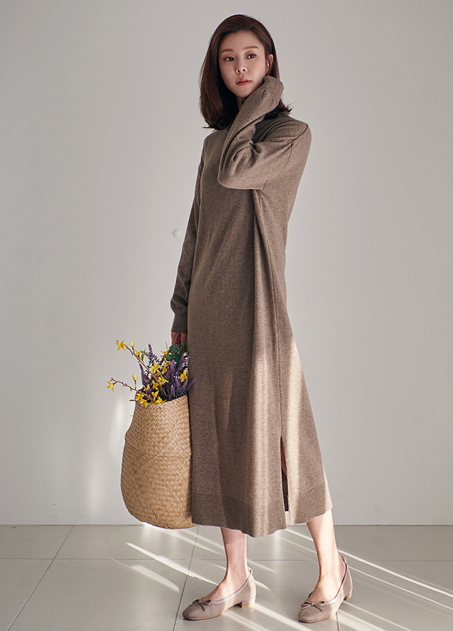 (3FOP114) Wool Slit Long One Piece