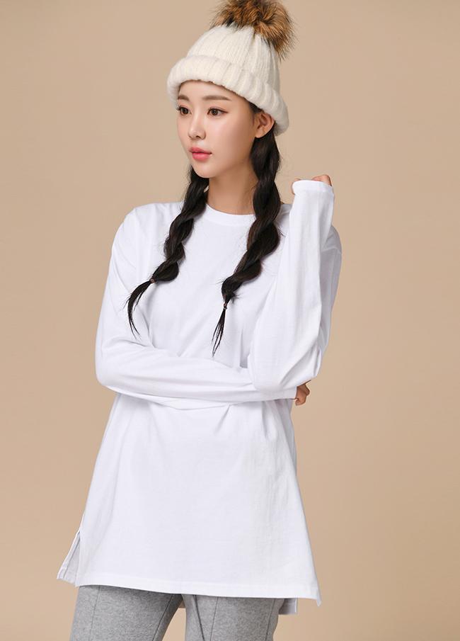 (3FTT077) Basic Round Neck Cotton T-shirt
