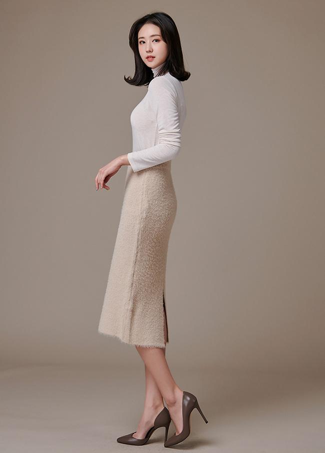 (3FSK103) Soft Banding Midi Skirt