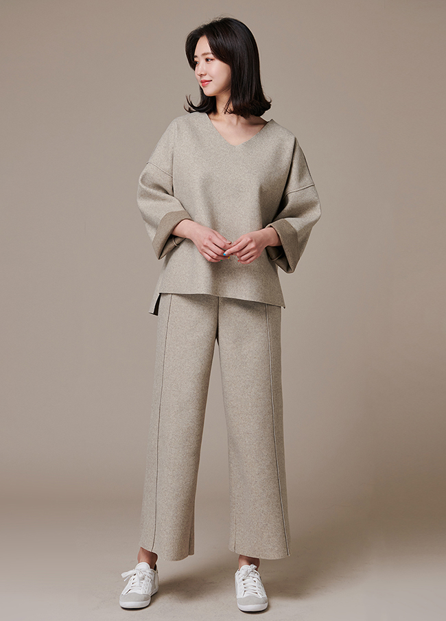 (3FPT192) Back Bending Wool Wide Pants