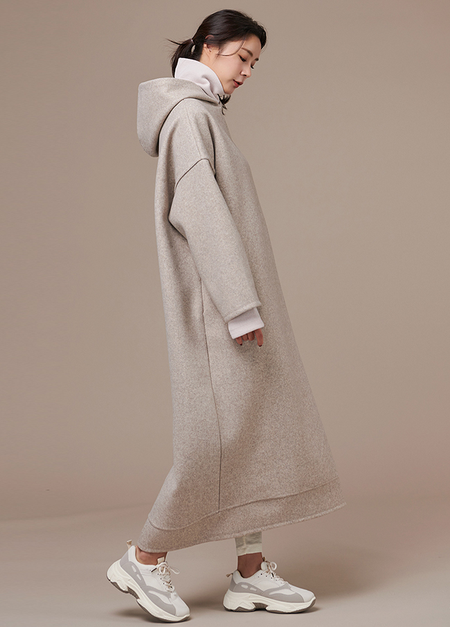 (3FOP145) Wool Hood overfit One Piece