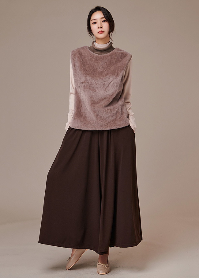 (3FVT039) Knit Highneck Fur Vest