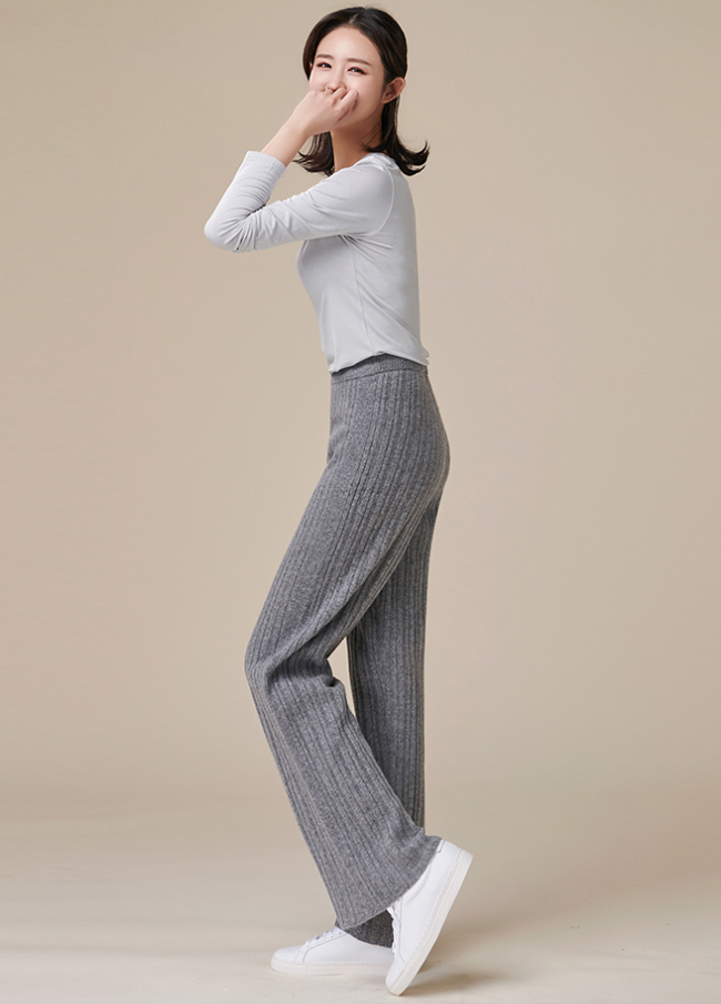 (3FPT204) Cassie Straight Knit Banding Pants