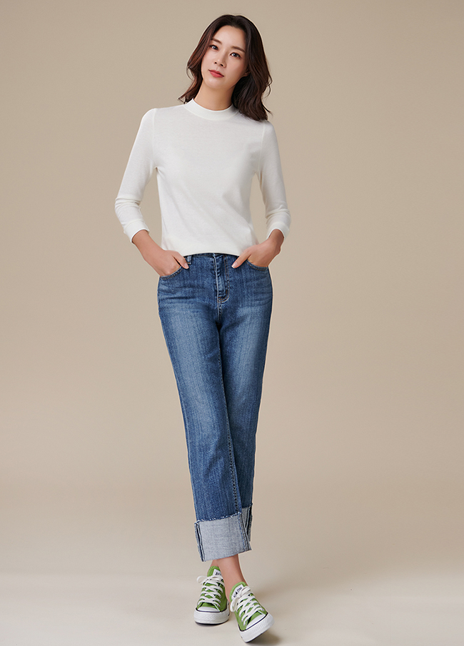(3FPT205) Rollup Natural Straight Denim