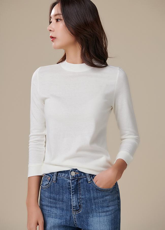 (3FTT106) Cotton 7 Part Round T-shirt