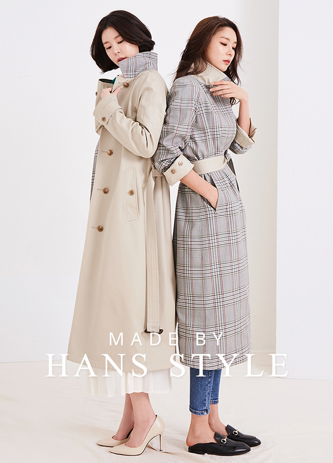 (HS3SCT002) Reversible Check Trench Coat