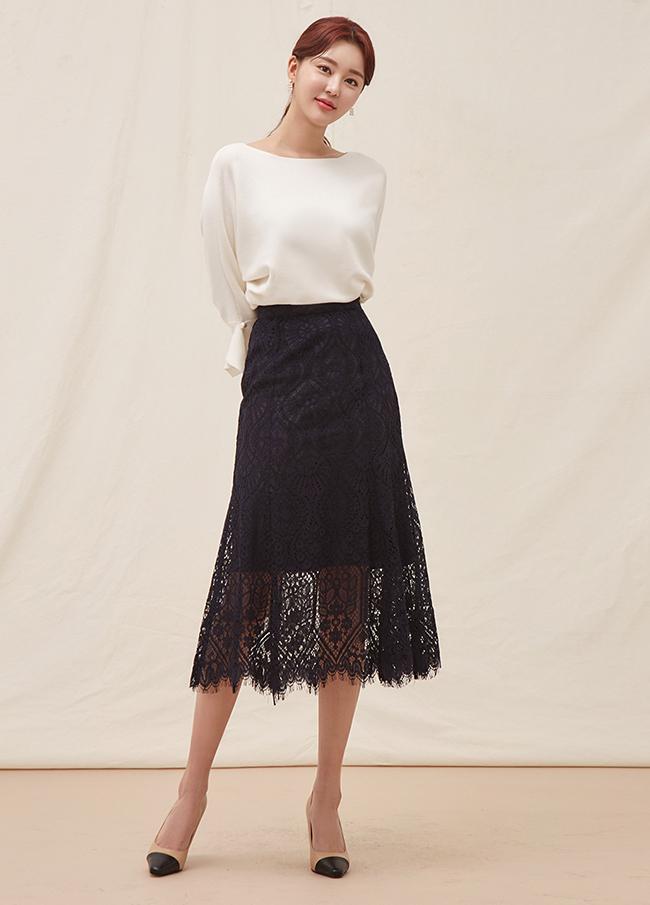 (4SSK036) lace cotton Long Skirt