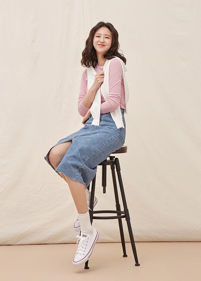 (4SSK037) Long Slit Denim Skirt