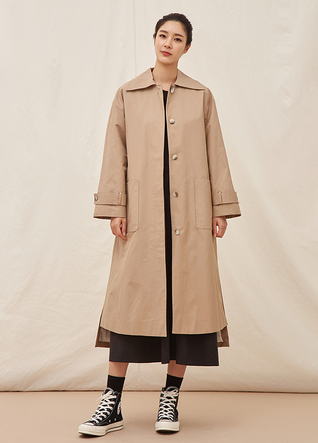 (4SBB007) Slit Unfooted Cotton Trench Coat