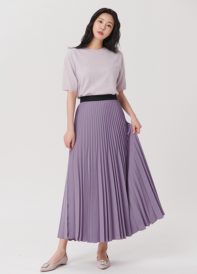 (4SSK047) Banding Pleats Long Skirt