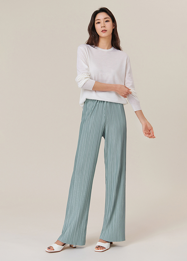 (4SPT076) Straight Pleats Banding Pants