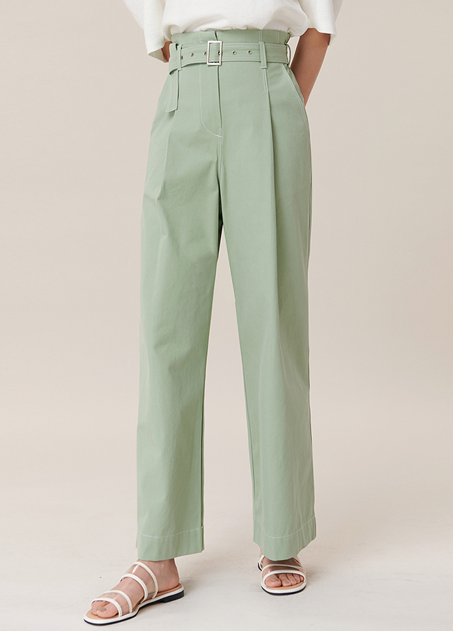 (4SPT081) Cotton Wide One Chin Pants