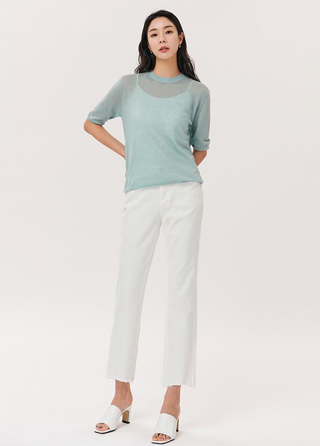 (4SPT086) Semi Boot cut Cotton Pants