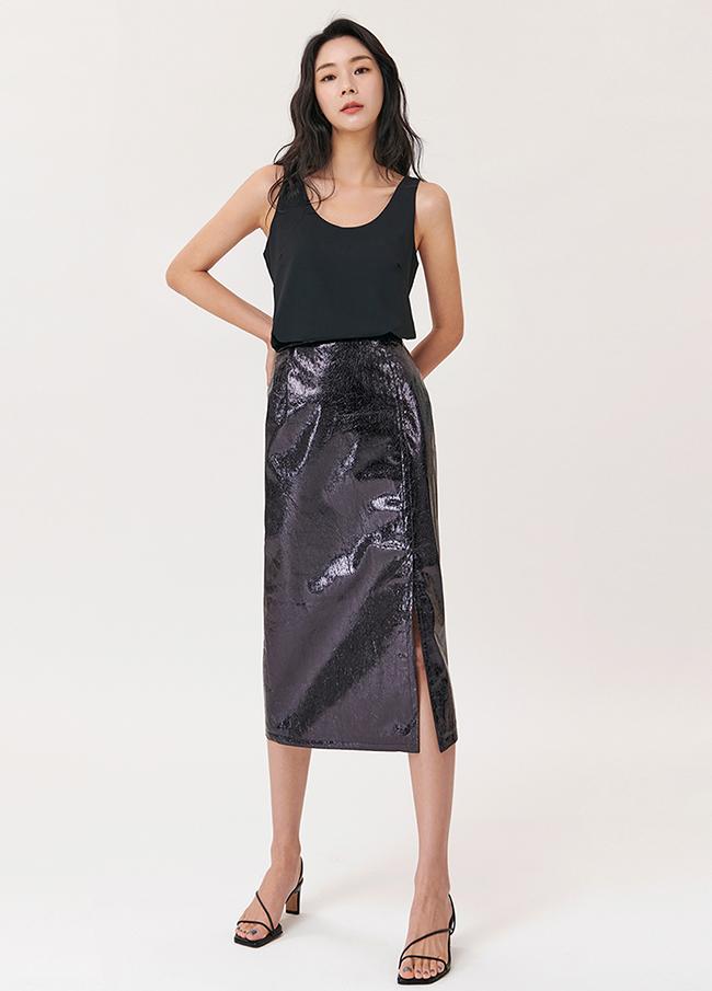 (4SSK061) Metallic Slit Long Skirt