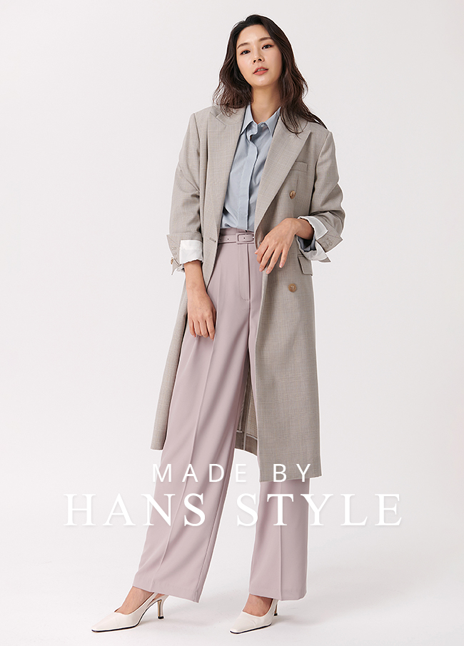 (HS4SCT001) double breasted Check Coat