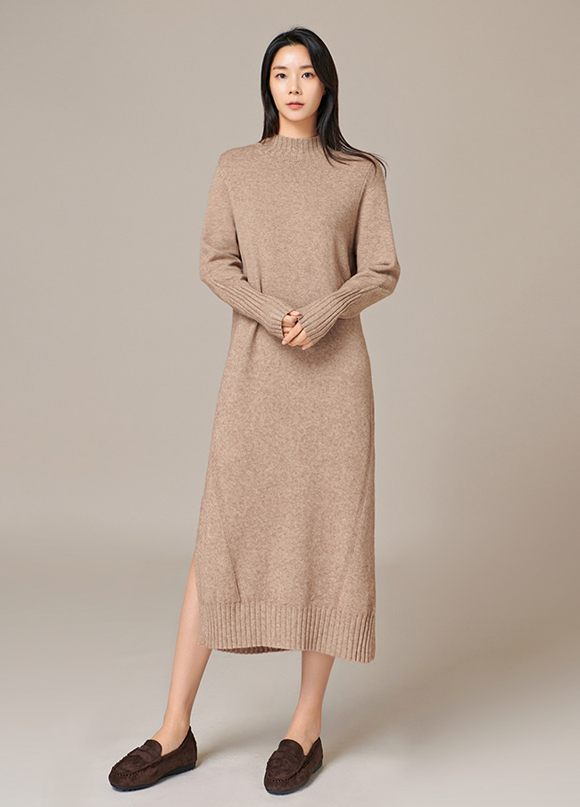 (4FOP028) Cashmere Harp Highneck One Piece