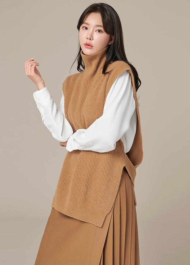 (4FVT006) Highneck Wool Belt Vest
