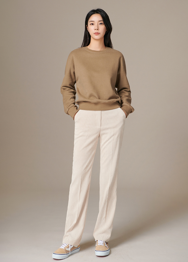 (4FPT095) Cotton Corduroy Banding Slacks