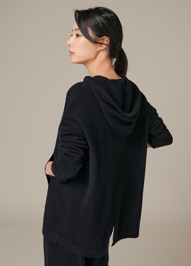 (4FNT050) Wool Slit Hood Knit