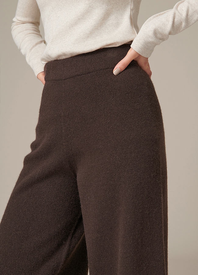 (4FPT100) Wide Wool Banding Knit Pants