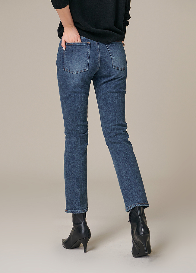 (4FPT104) Cotton Span Straight napping Denim