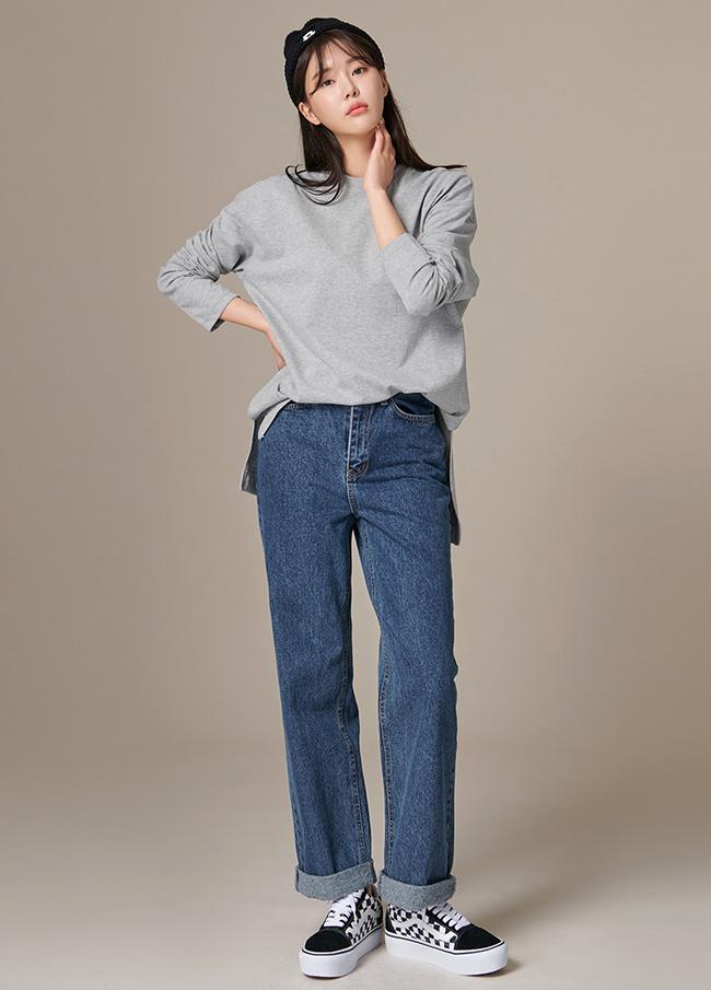 (4FTT050) Box Fit Long Slit Cotton T-shirt