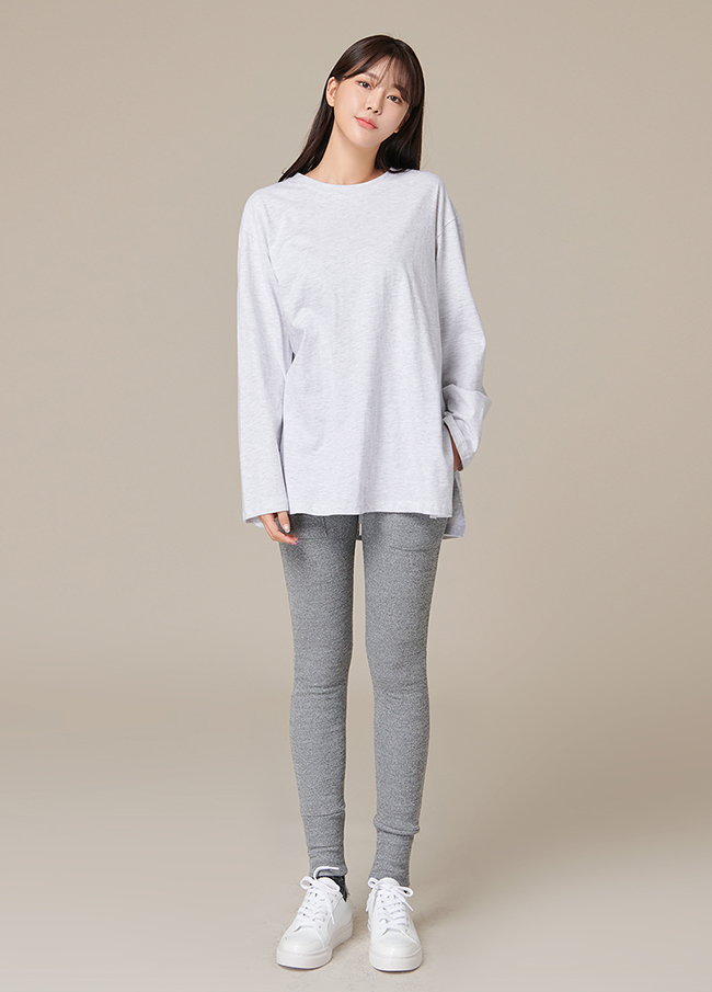 (4FTT064) loose fit cotton slit T-shirt
