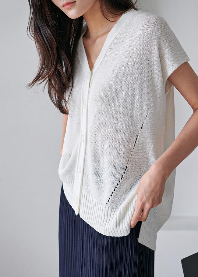 Linen Knit V-neck Cardigan